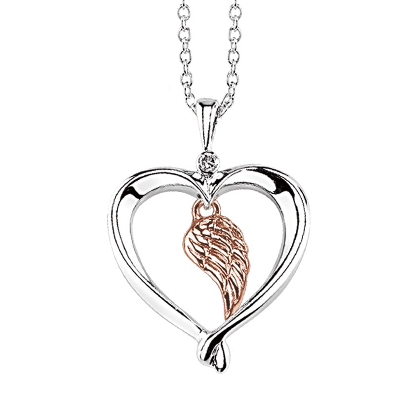 Kissing Hearts Collection sterling silver and 10k rose gold .01ctw angel wing heart pendant