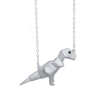 sterling silver origami dinosaur pendant