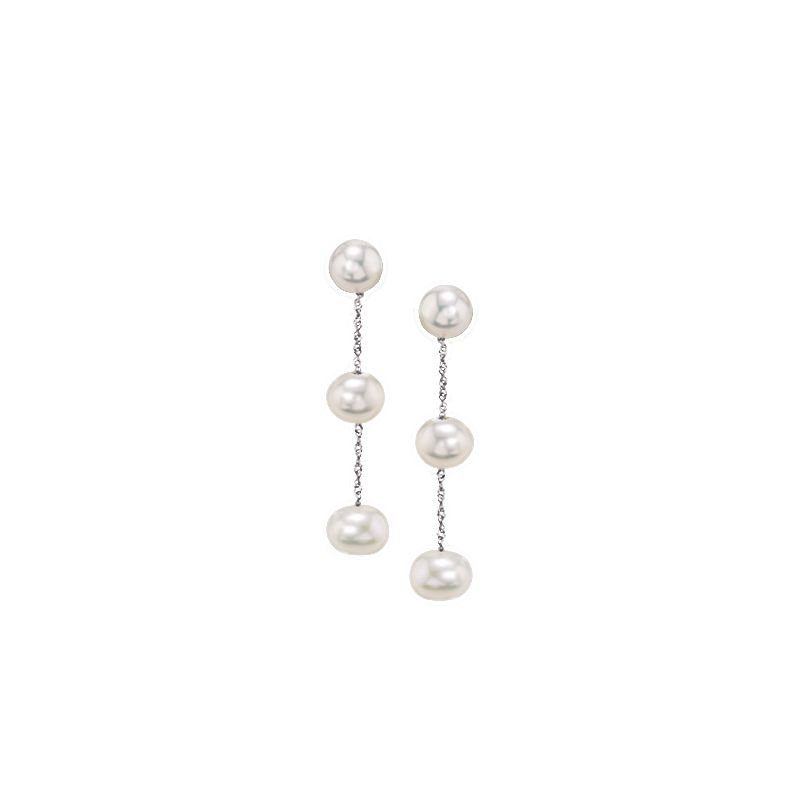 Greenberg's 14k white gold drop earrings with white freshwater pearls