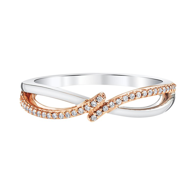 Greenberg's sterling silver and ping gold plated .10ctw diamond ring