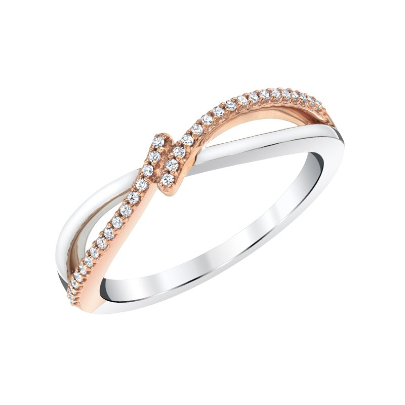 Greenberg's sterling silver and ping gold plated 0.10ctw diamond ring