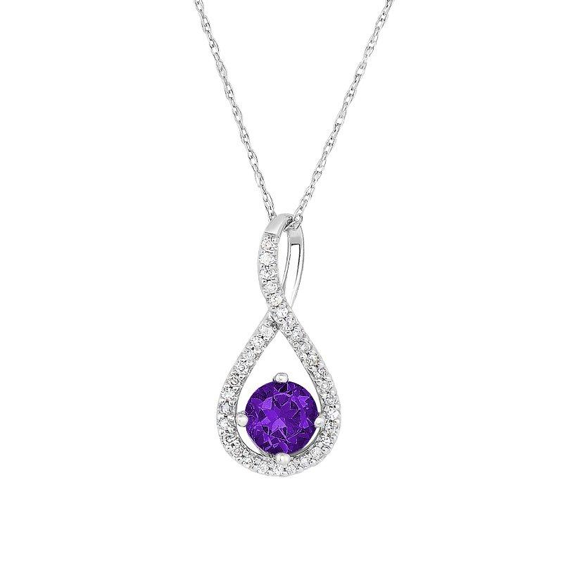 Greenberg's sterling silver .10ctw amethyst swirl pendant