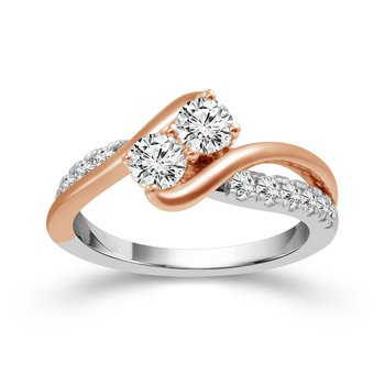 14k white and rose gold 1ctw two-stone ring