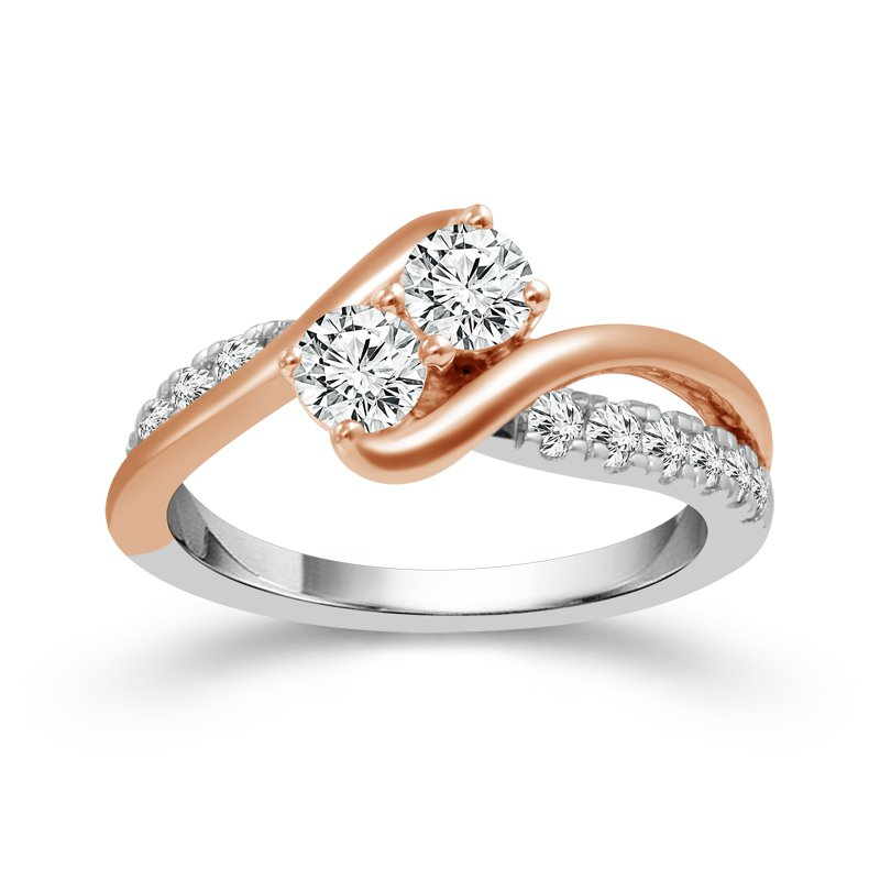 Greenberg's 14k white and rose gold 1ctw two-stone ring