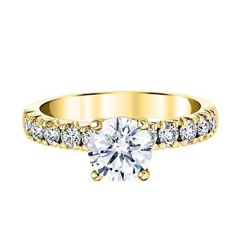 14k yellow gold 5/8ctw diamond semi mount fishtail engagement ring
