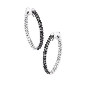 10k white and black enhanced diamond 1/3ctw fashion earrings