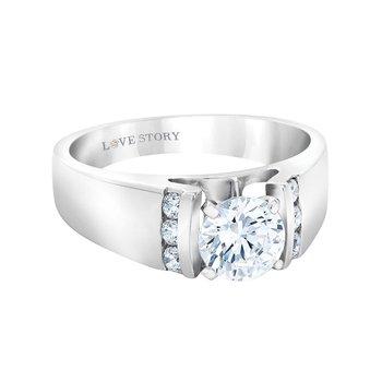 14k white gold 1/5ctw semi-mount diamond engagement ring