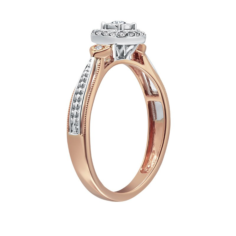 Greenberg's 10k white and pink 1/8ctw diamond promise ring