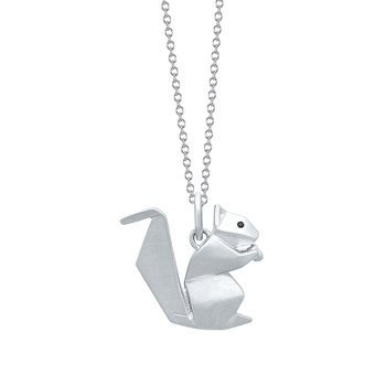 Sterling Silver Squirrel Origami Pendant