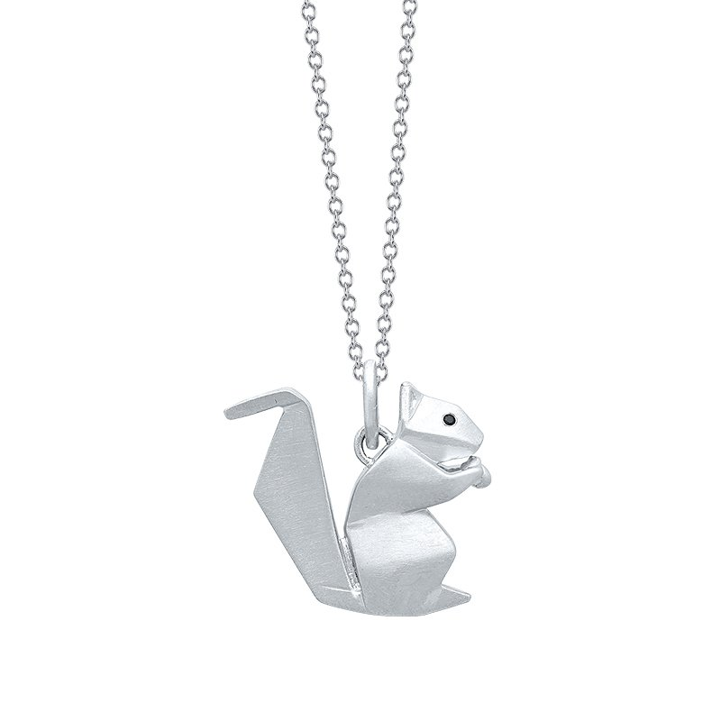 Greenberg's Sterling Silver Squirrel Origami Pendant