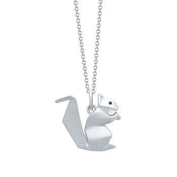 Sterling Silver Squirrel Origami Pendant