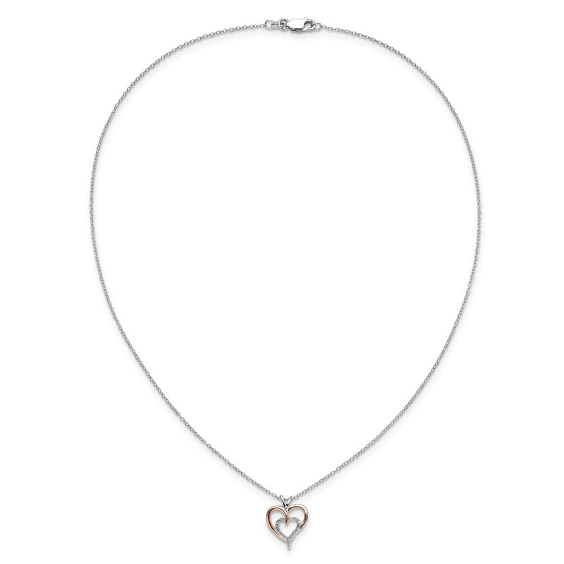 Greenberg's sterling silver and 10k rose gold two-heart pendant