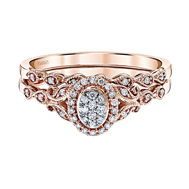 Beautiful Bride 10K RG 1/6ctw Multi Diamond Center Oval Halo Diamond Bridal Set