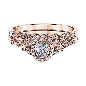 10K RG 1/6ctw Multi Diamond Center Oval Halo Diamond Bridal Set