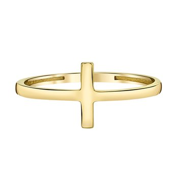10k yellow gold fashion cross ring