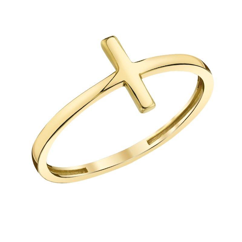 Greenberg's 10k yellow gold fashion cross ring