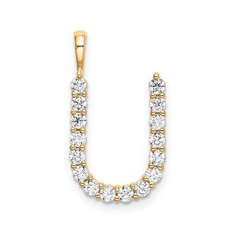 """14k yellow gold initial """"U"""" pendant"""