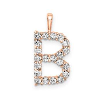 """14k rose gold initial """"B"""" pendant"""