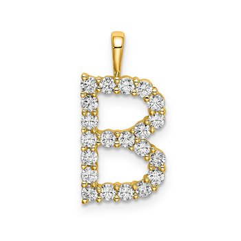 "14k yellow gold initial ""B"" pendant"