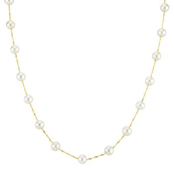 14k yellow gold necklace with white freshwater pearls