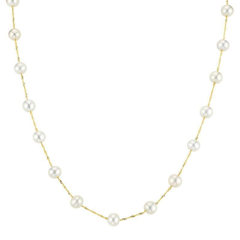 Greenberg's 14k yellow gold necklace with white freshwater pearls