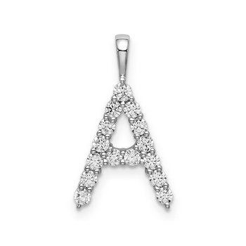 """14k white gold initial """"A"""" pendant"""