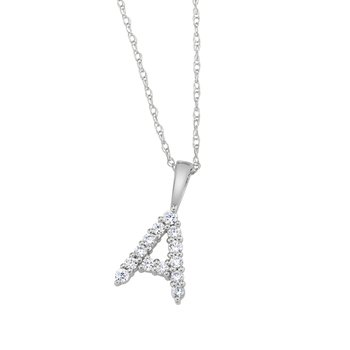 "14k white gold ""A"" initial pendant with chain"