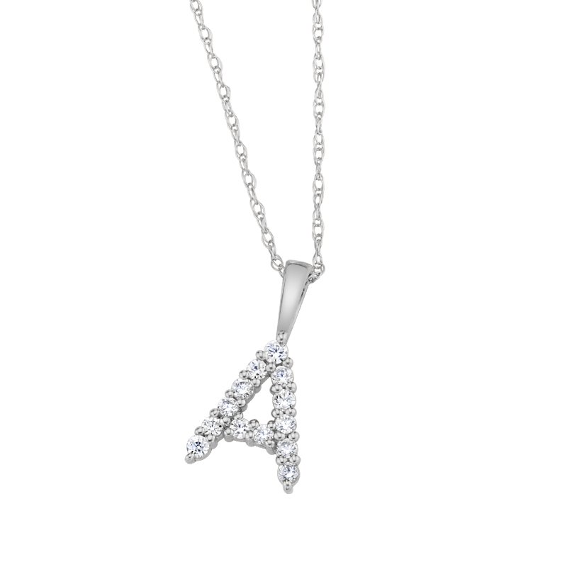 """Greenberg's 14k white gold """"A"""" initial pendant with chain"""