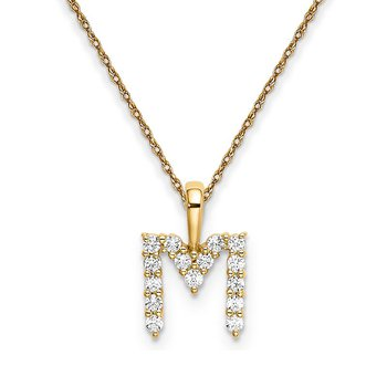 """14k yellow gold initial """"M"""" pendant with chain"""