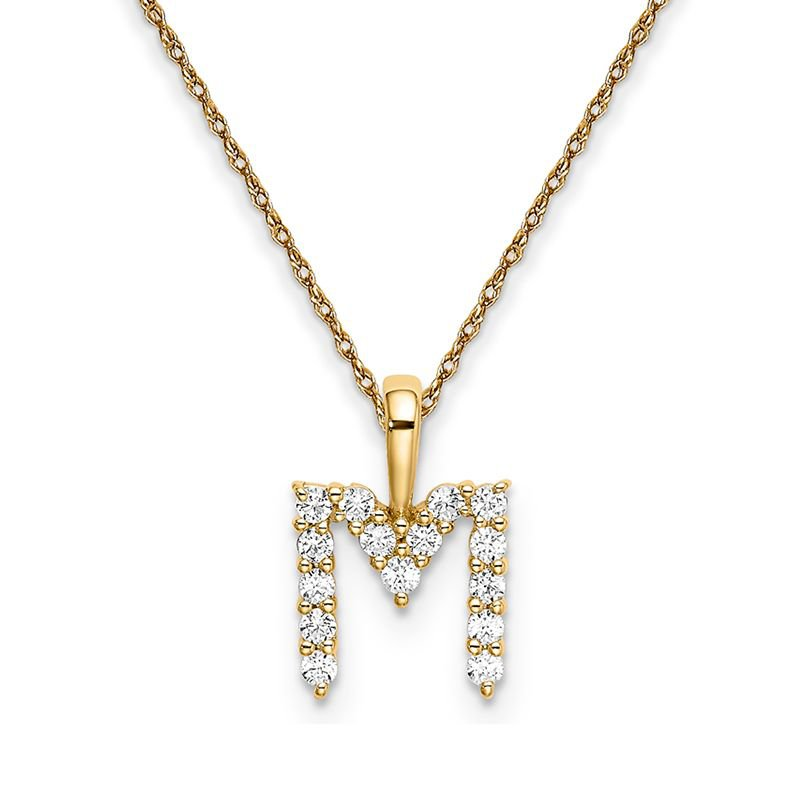 """Greenberg's 14k yellow gold initial """"M"""" pendant with chain"""