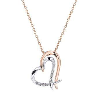 14k white and rose gold double heart pendant