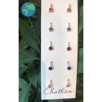 Chatham Gemstone & Diamond Drop Earrings