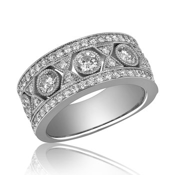 14-Karat White Gold Beaded Diamond Band