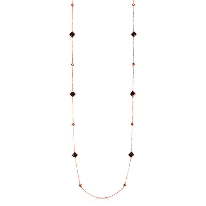 Roberto Coin Palazzo Black Jade Station Necklace