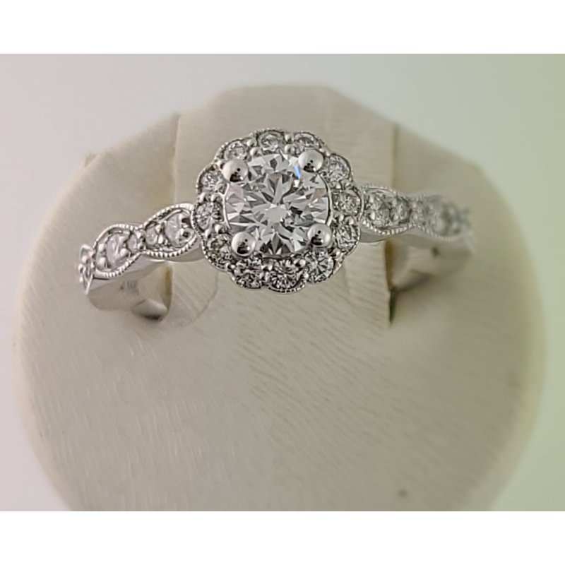 Spring Bridal Sale Bradley Gough Diamonds wg beaded scallop floral halo