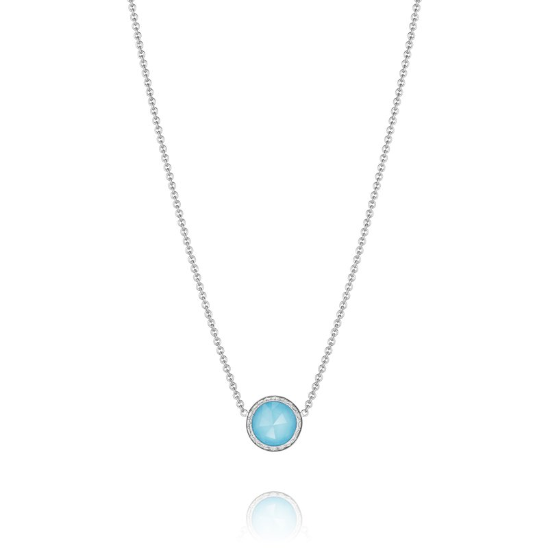 Tacori Round Turquoise with Clear Quartz Overlay Necklace