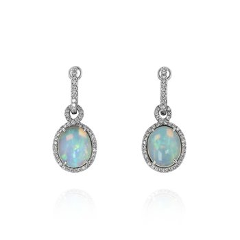 Yael Oval White Opal Diamond Dangle Earrings