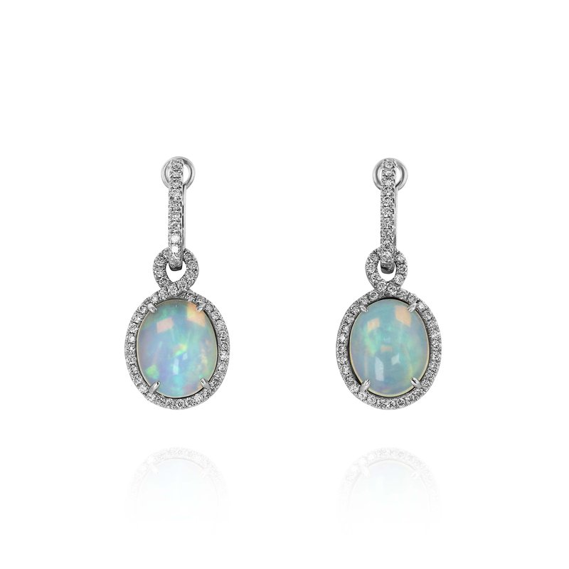 Yael Designs Yael Oval White Opal Diamond Dangle Earrings