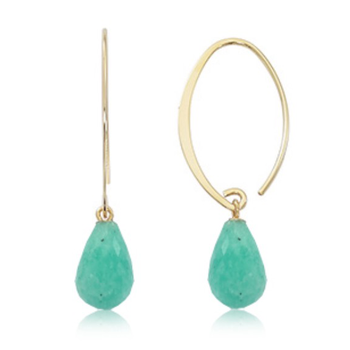 14k YG Turquoise dangle earrings