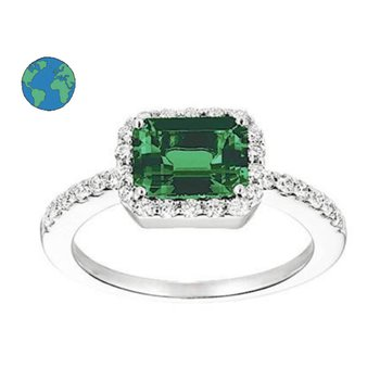 Chatham Emerald and Diamond Ring