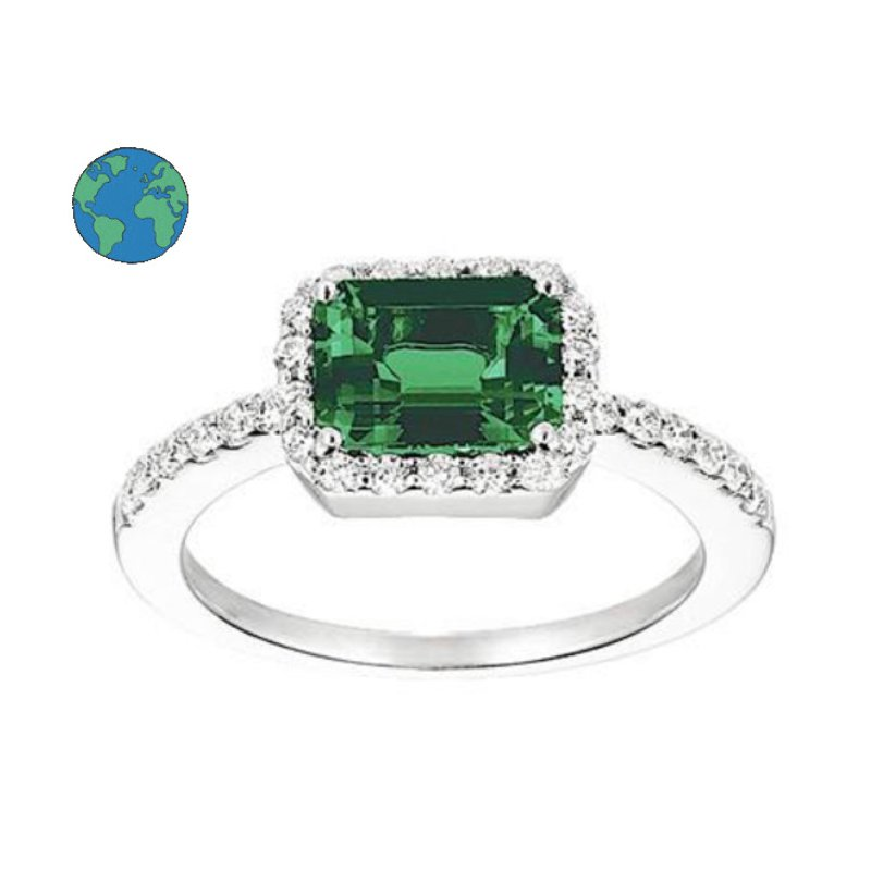 As Seen on Social Media Chatham Emerald and Diamond Ring