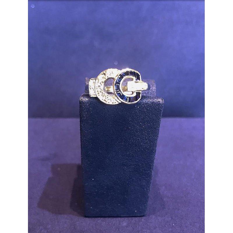 Bradley Gough Diamonds Estate Vintage Blue Sapphire & Diamond Ring