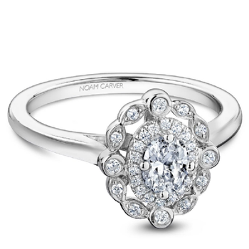 Noam Carver Vintage Halo Oval Engagement Ring