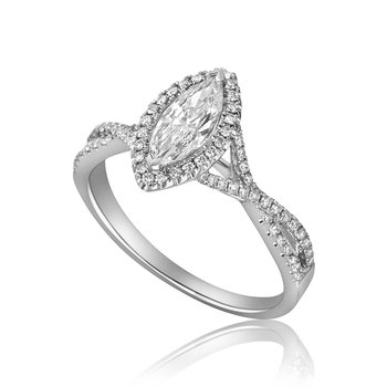 14-Karat White Gold Marquise Diamond Engagement Ring