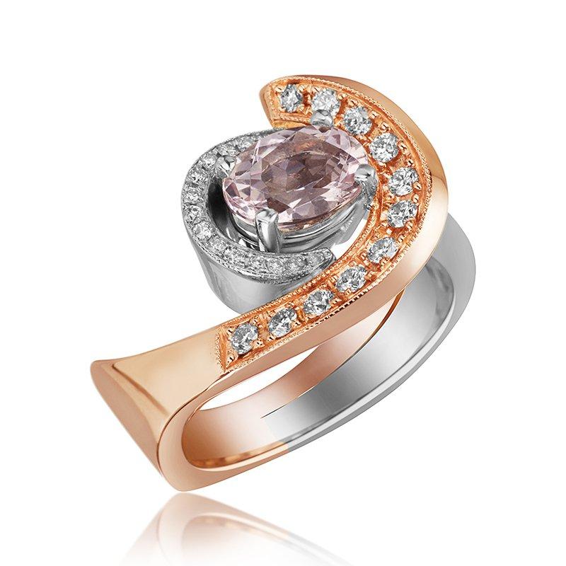 Mikhail 14-Karat White and Rose Gold  Morganite Ring