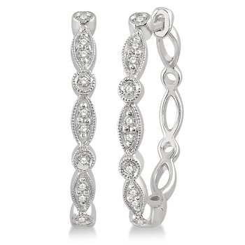 Diamond Scalloped Beaded Hoop Earrings