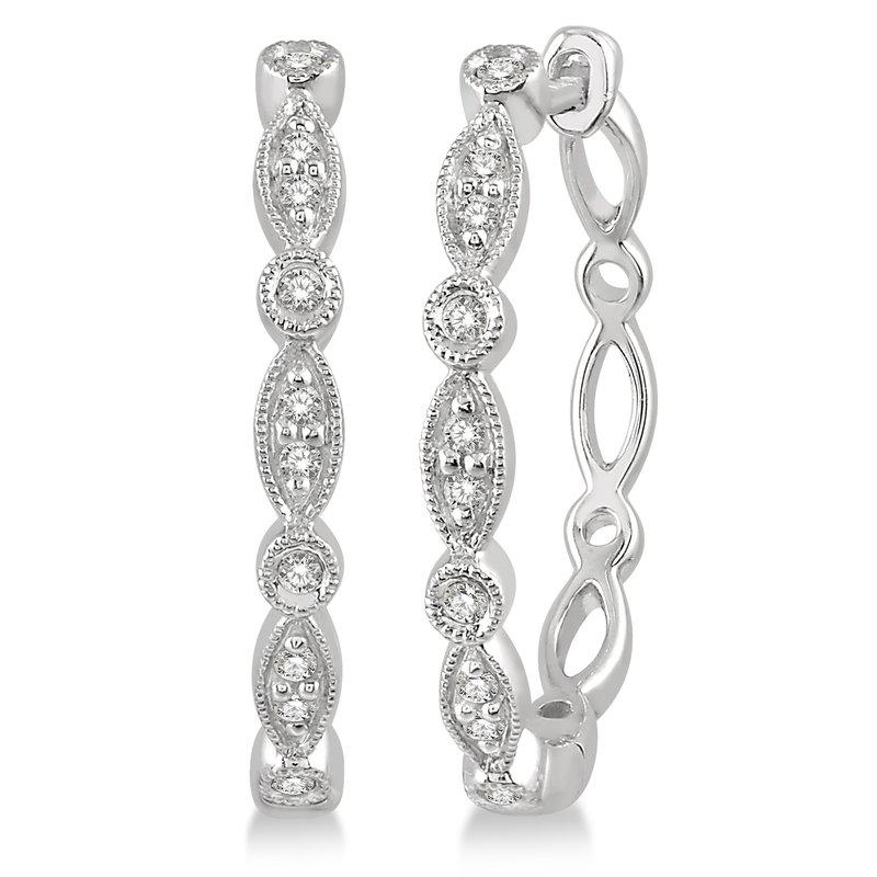 Holiday Diamond Scalloped Beaded Hoop Earrings