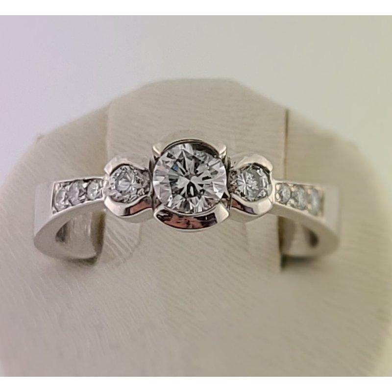 Spring Bridal Sale Mikhail 14 kt wg three stone bezel round diamonds