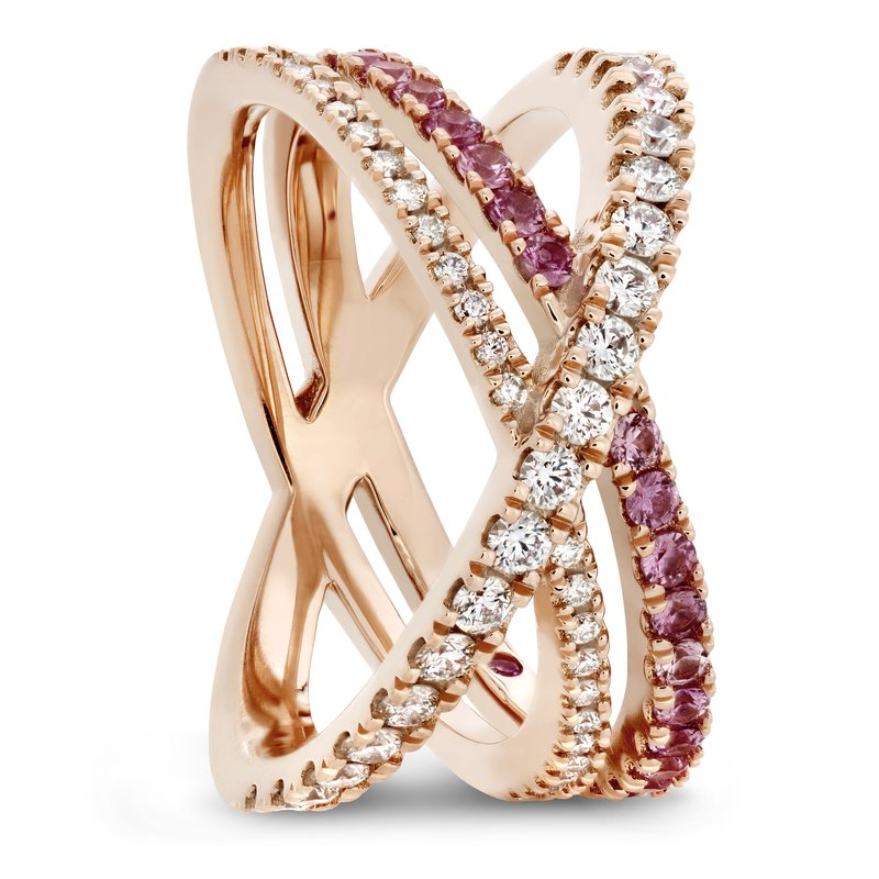 Hearts on Fire HOF 18k Rose Wrap Band with pink sapphires
