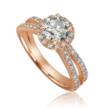 Mikhail  split band with round halo engagement ring